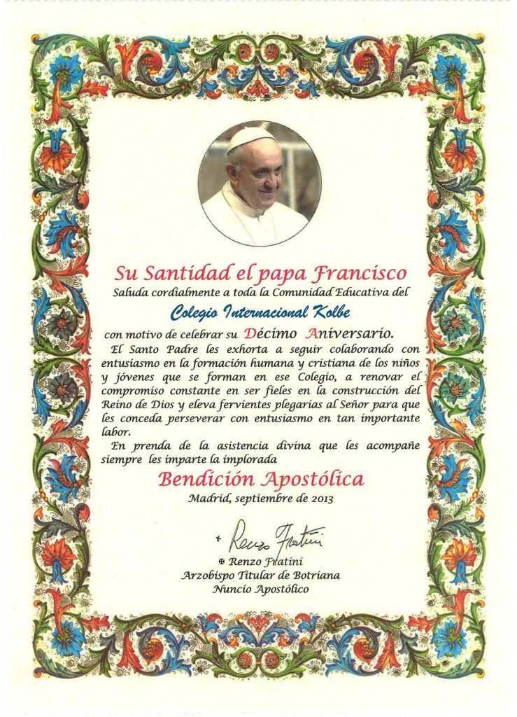 Bendición del Papa Francisco