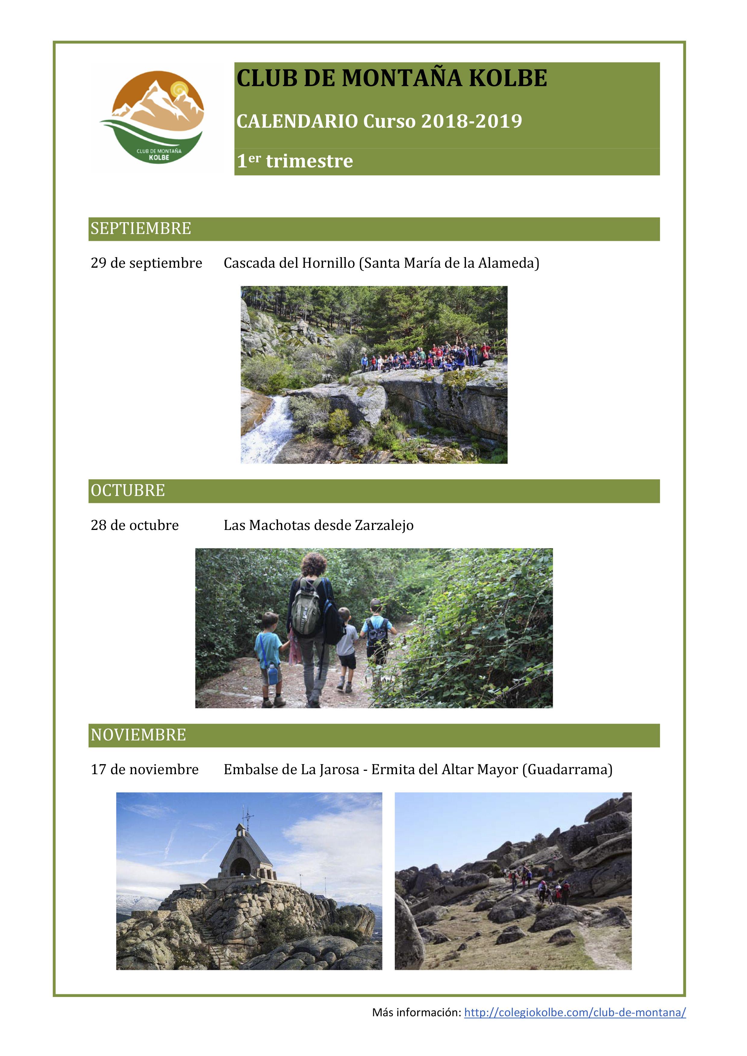 Calendario Club de Montaña Kolbe 2018-2019